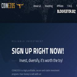 Coinezos (121% за 2 недели / 5,5-7% в сутки на протяжении 6 недель + 5% RCB + Мой вклад 200$) — Обзор и Отзывы добротного иностранного среднедоходника!